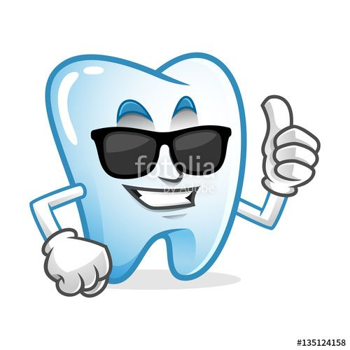 """Download the royalty-free vector """"cool thumb up tooth mascot wearing sunglasses, tooth character, tooth cartoon vector """" designed by IronVector at the lowest price on Fotolia.com. Browse our cheap image bank online to find the perfect stock vector for your marketing projects!"""