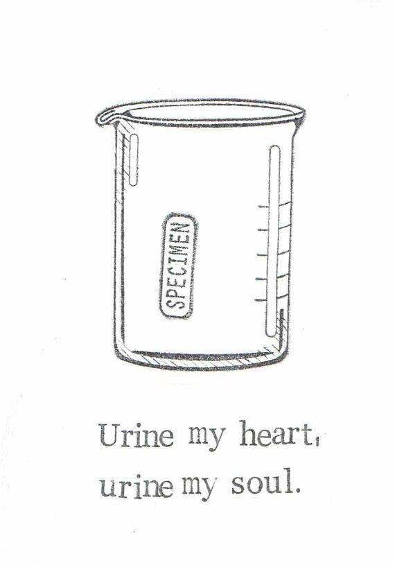 Urine My Heart Card Funny Medical Humor Lab Sample Specimen Pun Love Friend Doctor Nurse Technician Chemistry Geekery Weird Science