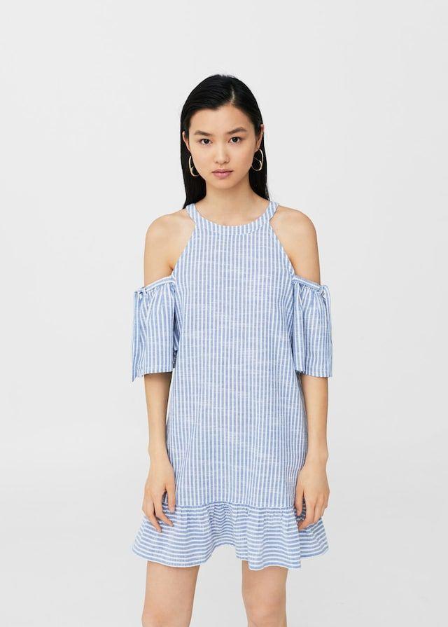 Sukienka w paski z wycięciami na ramionach