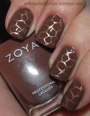 Giraffe design - Zoya: Dea; stamped with Essie: Good as Gold and Bundle Monster BM 313