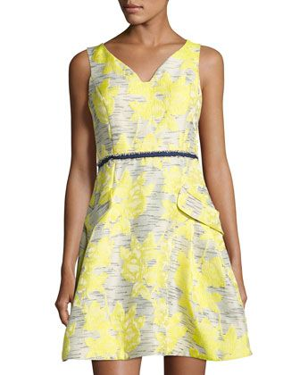 Sleeveless+Floral+Jacquard+Dress,+Yellow+Pattern+by+Donna+Ricco+at+Neiman+Marcus+Last+Call.