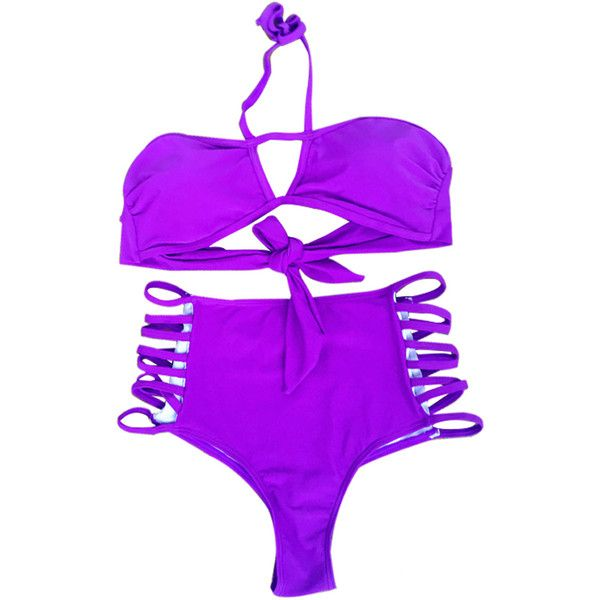 Purple Strappy High Waisted Sexy Bikini Swimsuit ($24) ❤ liked on Polyvore featuring swimwear, bikinis, purple, halter bikini, sexy two piece bathing suits, purple bikini, high waisted 2 piece swimsuits and high waisted two piece swimsuit