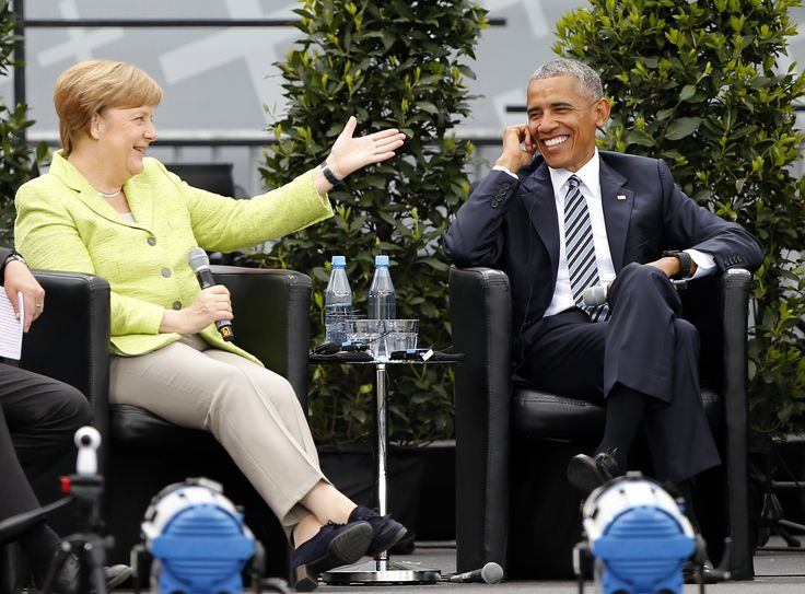German Chancellor Angela Merkel and former U.S. President Barack Obama attend a discussion at the German Protestant Kirchentag in front of the Brandenburg Gate in Berlin, Germany, May 25, 2017. REUTERS/Axel Schmidt  TPX IMAGES OF THE DAY via @AOL_Lifestyle Read more: https://www.aol.com/article/news/2017/12/04/obama-endorses-women-in-power-men-seem-to-be-having-problems/23296643/?a_dgi=aolshare_pinterest#fullscreen