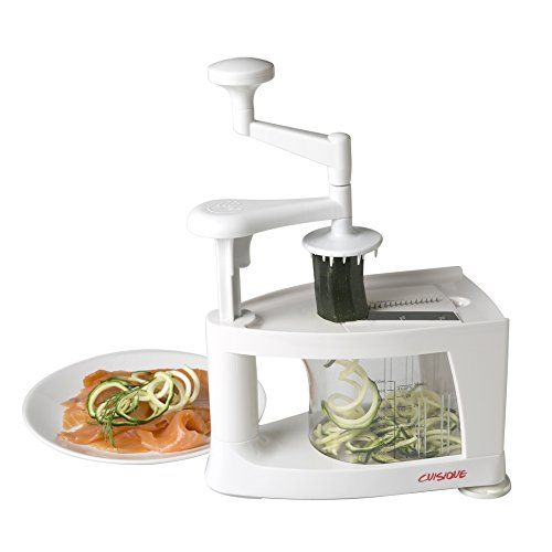 Cuisique Spiralizer Premium Easiest to Use Courgette Spaghetti Maker, Slicer and Mandolin.  Unique 1 Litre Vegetable Catcher 8 in 1 Functions Cuisique http://www.amazon.co.uk/dp/B00PR54V30/ref=cm_sw_r_pi_dp_kgdBwb0EXWJ5H