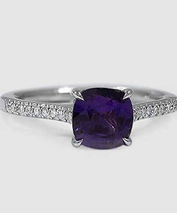 Purple Cushion Platinum Sapphire Ring