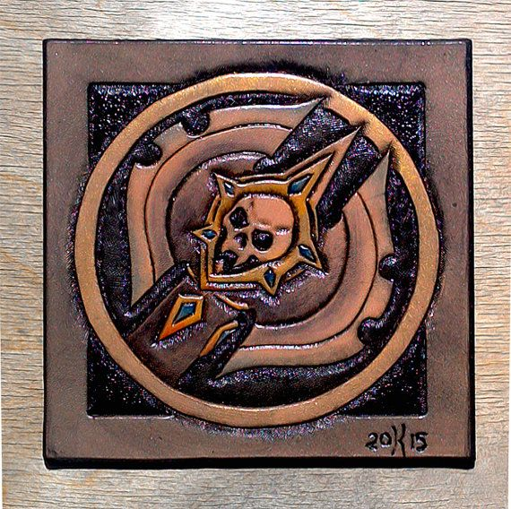 Leather coaster Death Knight class crest by TimnKirasArt on Etsy