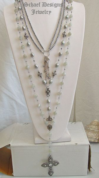 Schaef Designs Gray Moonstone & large freshwater pearl, hematite, & sterling silver layering necklace trio  | Online upscale artisan handcrafted pearl & gemstone jewelry boutique | Schaef Designs Pearl Jewelry | New Mexico