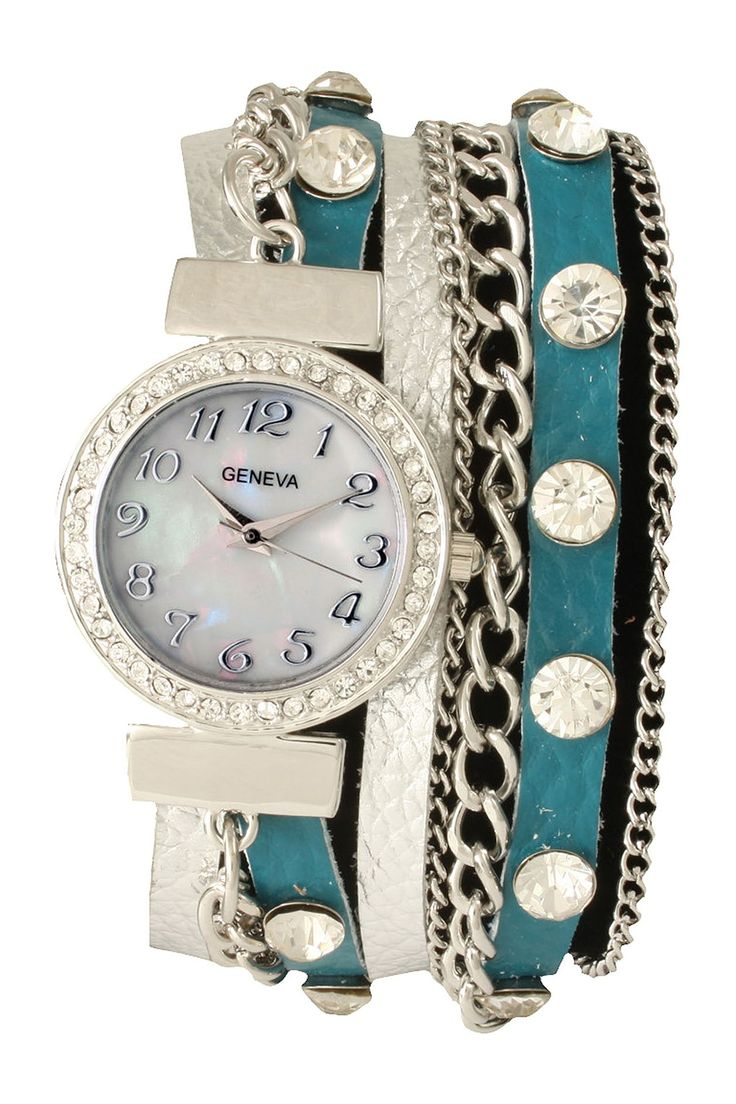 Geneva Women's Rhinestone Wrap Watch