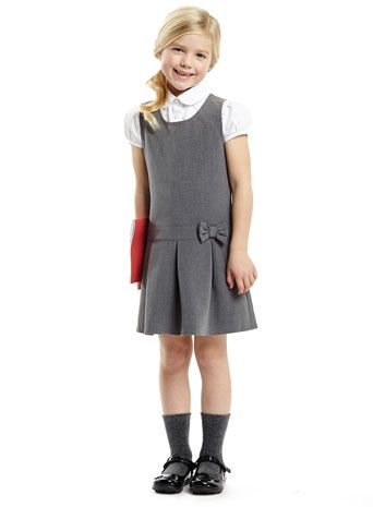 Junior Girls Grey School Pinafore and Blouse Set