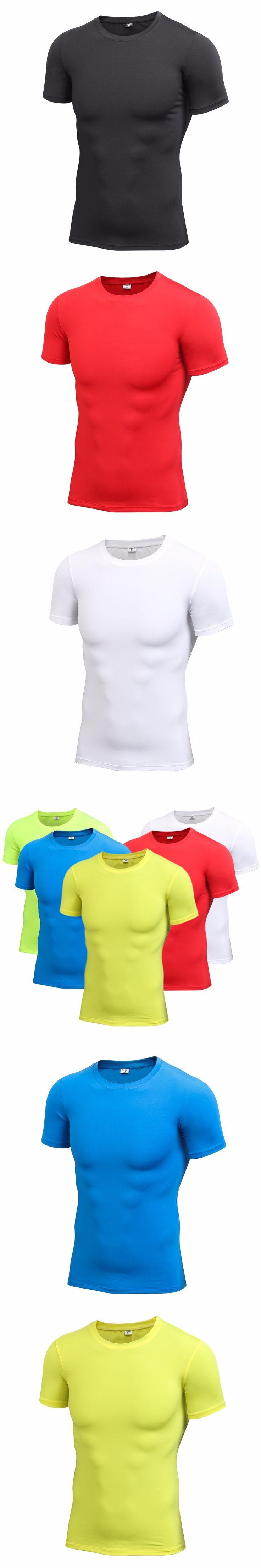 Men Elastic Compression  T-shirt Men's Tight Round Collar Shirt Tops Short Sleeved Cloth