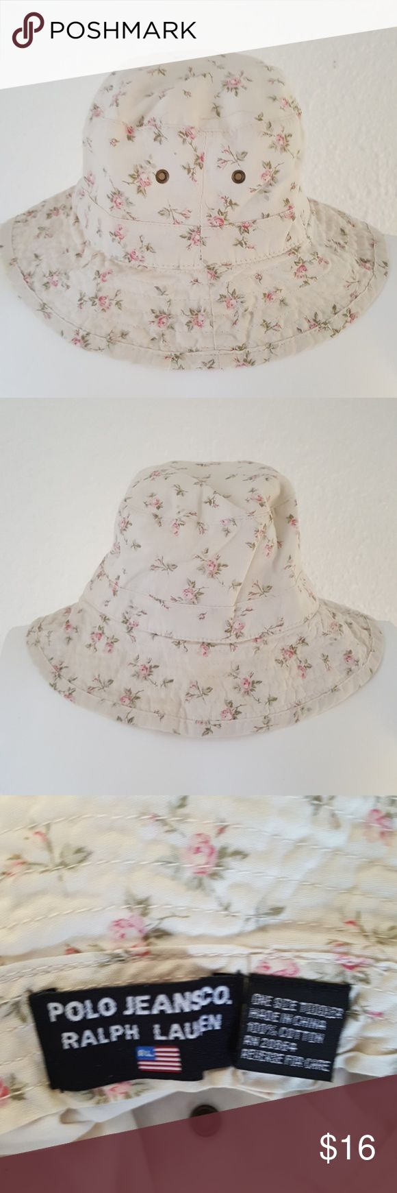 Polo Ralph Lauren Bucket Sun Hat Toddler 2T 3T 4T Super cute little bucket hat from Polo Jeans by Ralph Lauren in a one size toddler. Should fit 2T to 4T. Light ivory cream with delicate pink roses throughout. Lightweight 100% cotton. Not available anymore. Just darling. Polo by Ralph Lauren Accessories Hats