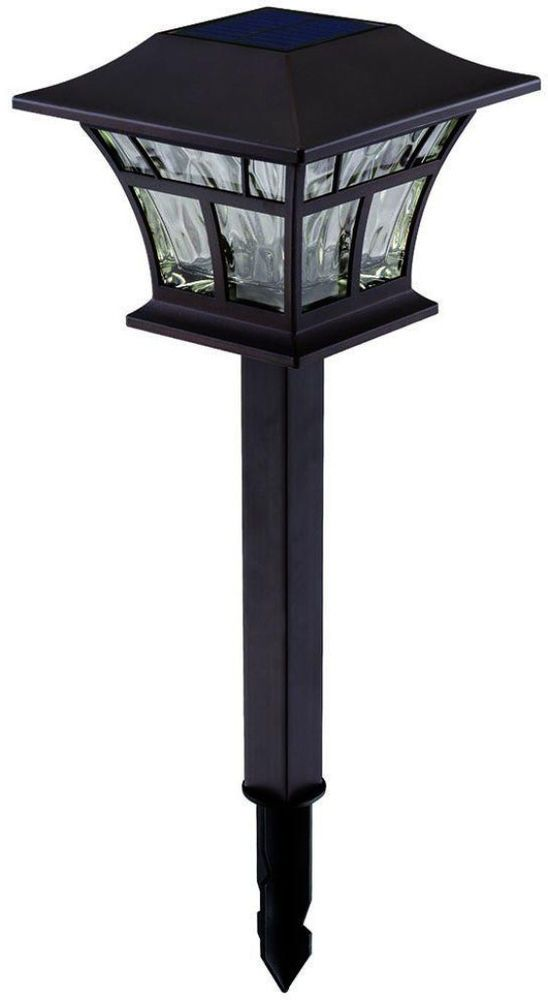 Hampton Bay Mediterranean Bronze Solar Path Light (4-Pack) for Lawn and Patio #HamptonBay #Lighting #Path #Lights