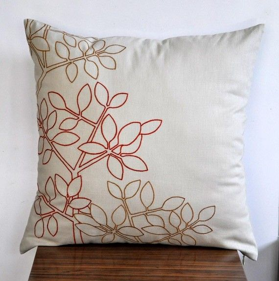 Orange Leaves Pillow Cover Throw Pillow Cover by KainKain on Etsy