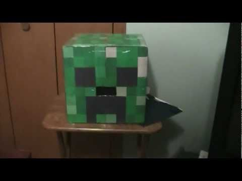 How to Make a Minecraft Creeper Head out of Cardboard  Holidays  Minecraft Halloween Trunk