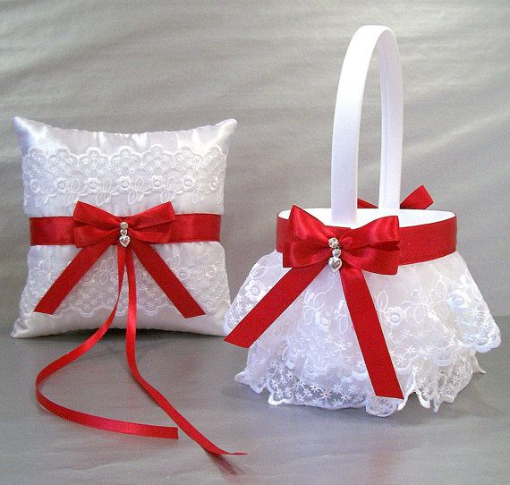 Scarlet Red, Wedding Bridal, Flower Girl Basket and Ring Bearer Pillow Set on Ivory or White ~ Double Loop Bow & Hearts Charm ~ Allison Line