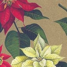 Christmas Poinsettias Florentine Holiday Print Paper ~ Rossi Italy