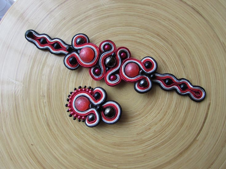 Red glitter ball with hematite beads soutache bracelet and pendant