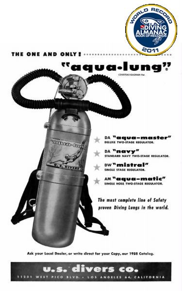 "Scuba Diving: 1943, Jaques Cousteau created the first ""Aqua Lung"" very similar to today's scuba diving tank/regulator set up. It did not become marketed until 1958 however."