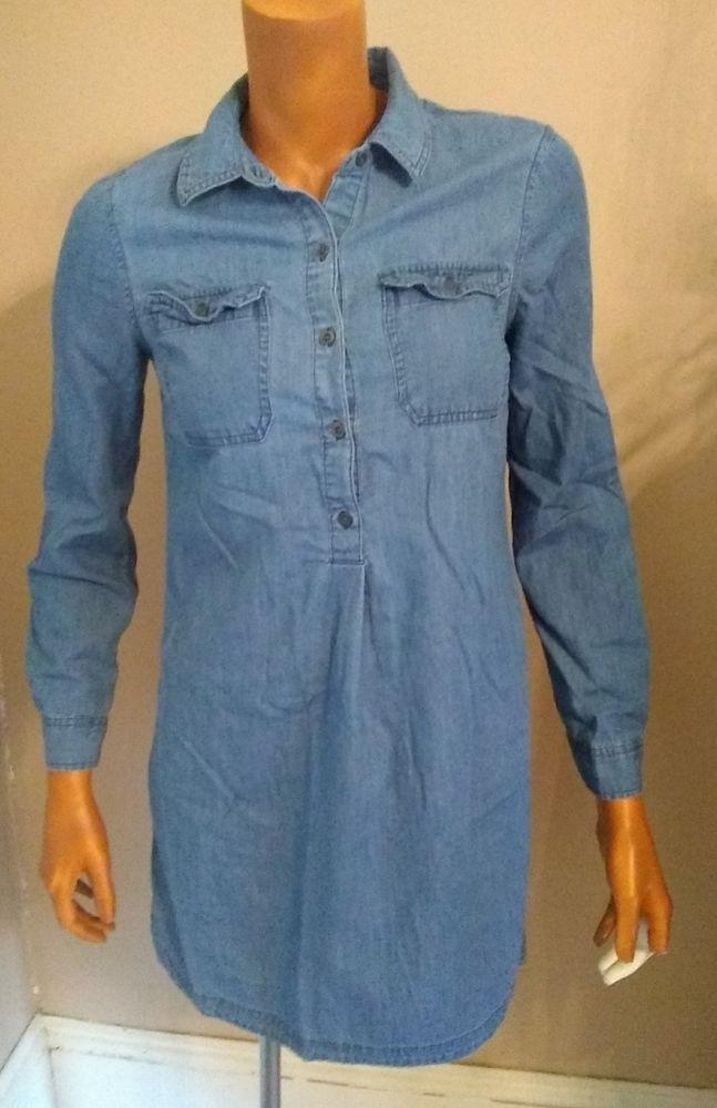 718c6fa3 Old Navy Light Chambray Soft Shirt Dress Tunic Blue Long Slv XS 2017 Medium  Wash #OldNavy #PopoverShirtDress #Casual