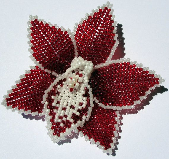 Beaded orchid flower hair barrette  / brooch - custom order