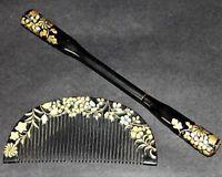 JAPANESE ANTIQUE Hair Comb Vintage RADEN 1900s KUSHI KANZASHI Kimono JAPAN a433