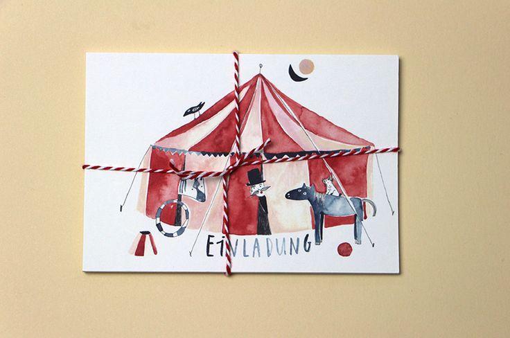 Geburtstagseinladungen Zirkus von Gretas Schwester auf DaWanda.com