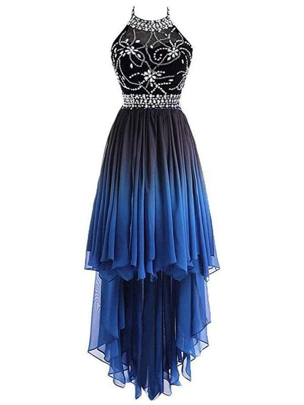 Awesome 2019 Halter Beaded High Low Chiffon Prom Dresses With Sleeveless,VPPD521