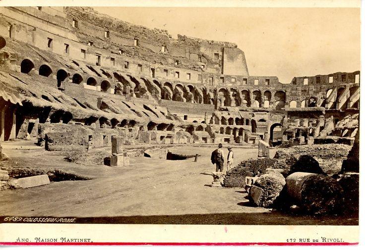 Italie, Roma, Interno del Colosseo vintage albumen print, carte cabinet Tirage albuminé 10X15 Circa 1880