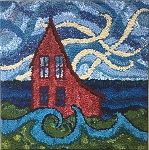 Coral house rug hooking by Deanne Fitzpatrick. Blue sky and water.
