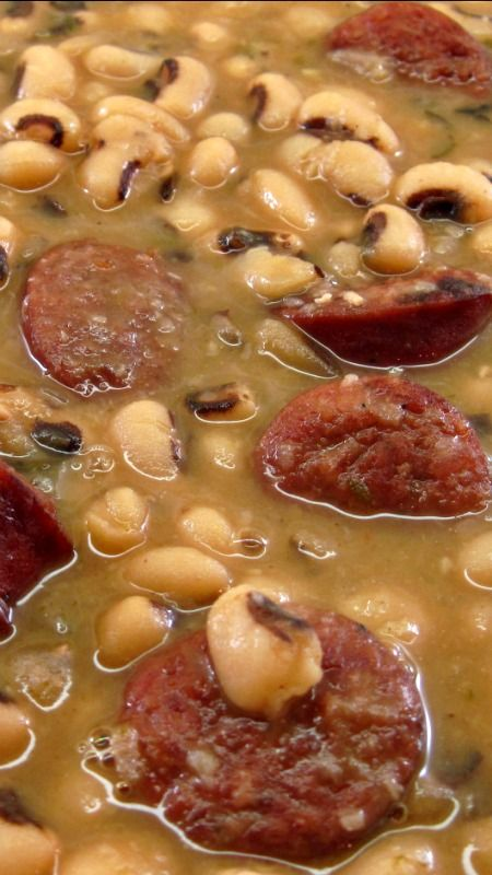 Emeril Lagasse's Smoked Sausage and Black-Eyed Peas ~ the best black-eyed peas recipe ever... The seasoning is perfect. As a bonus, it is very easy to make.