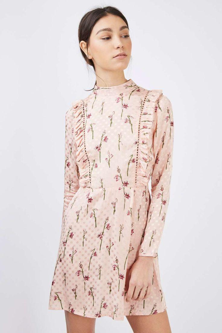 Spot Jacquard Ruffle Dress | Topshop