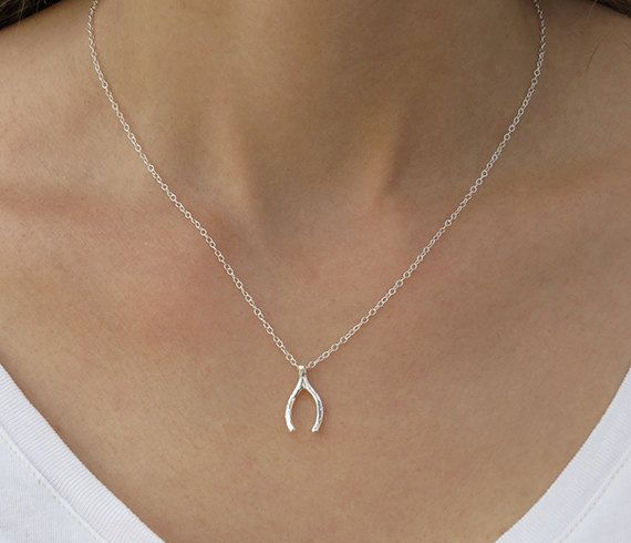 Silver necklace Wishbone necklace Lucky pendant by HLcollection