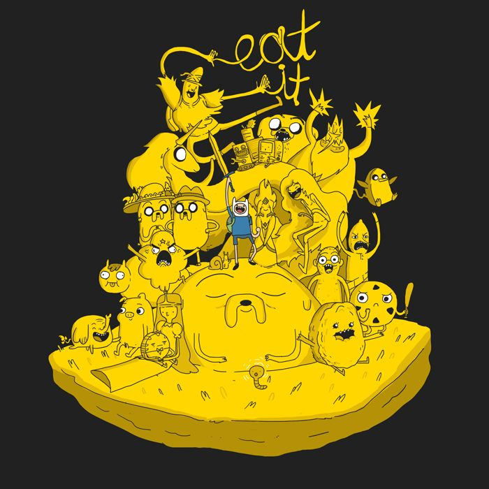 EAT IT! IT'S TIME FOR A SHAMEFUL PLUG!  REBLOG THIS THING!?!?!?!?!  Here's a thing I made forWeLoveFine's Adventure Time T-shirt contest.The idea is it's Finn and Jake, but everyone else is also Jake. Oh, and you can go EAT IT!  People in this thing: Magic Man, Lady Rainicorn, NEPTR, BMO, Jermaine, Ice King, Gunther, Margaret, Joshua, Finn, Flame Princess, Marceline, Poo Brain Horse, LSP, the Snail, Jake, Phil Rynda, Lemongrab, Princess Cookie, Treetrunks, the Pig, Pepp