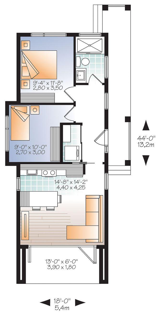 Plan de rez de chaussée micro maison moderne de 631 pi carré