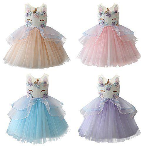 f355fbeb512 Enfant Fille Déguisement Licorne Robe Florale Princesse Tutu Jupe Canaval  Costume de Photographie Cérémonie Anniversaire Fête Soirée…