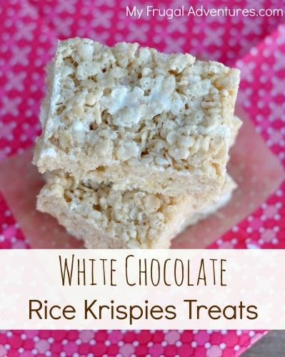 White Chocolate Rice Krispies Treats Recipe- make your rice krispies treats even better with the addition of white chocolate!  These are really addicting!