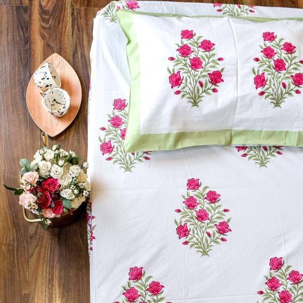 Indian Spring Floral Hand Block Print Bed Sheet Bed Sheet