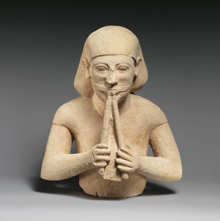 Limestone bust of a flute-player. Cypro-Archaic II - ca. 575–550 B.C. Cypriot