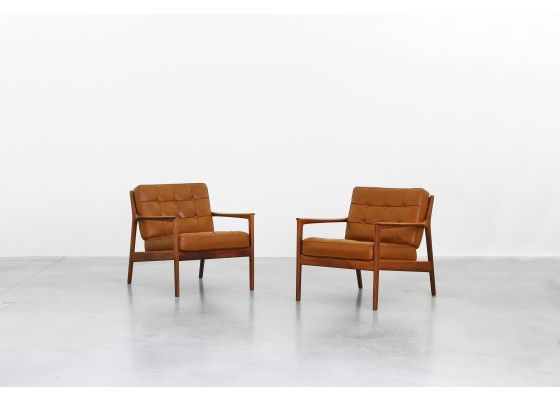 Leather Teak Easy Chairs By Folke Ohlsson For Dux Set Of 2 Shop With Global Insured Delivery At Pamono