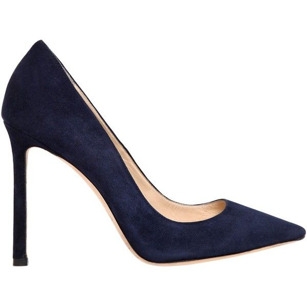 Jimmy Choo Women 100mm Romy Suede Pumps ($635) ❤ liked on Polyvore featuring shoes, pumps, navy, navy high heel pumps, high heeled footwear, navy blue suede shoes, leather sole shoes and high heel shoes