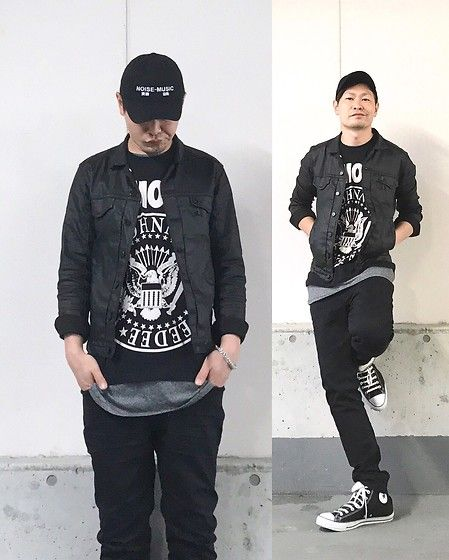 Get this look: http://lb.nu/look/8715481  More looks by Masaki: http://lb.nu/user/5916669-Masaki  Items in this look:  Kollaps Noise Music 実験音楽, Comune Coating Denimjacket, Ramones Hey!Ho!Let's Go!, H&M Layer, Neuw Denim Ray, Converse Allstar   #rock #punk #street #black #alternative #edgy #avantgarde #modern #urban
