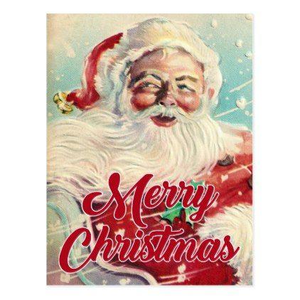 Merry Christmas | Retro Santa Claus Postcard - diy cyo personalize design idea new special custom