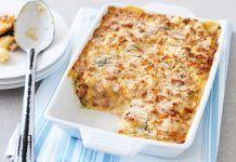 Συνταγή για σουφλέ ζυμαρικών με τυριά και μπέικον