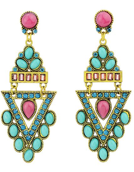 Green Gemstone Gold Triangle Earrings 7.14