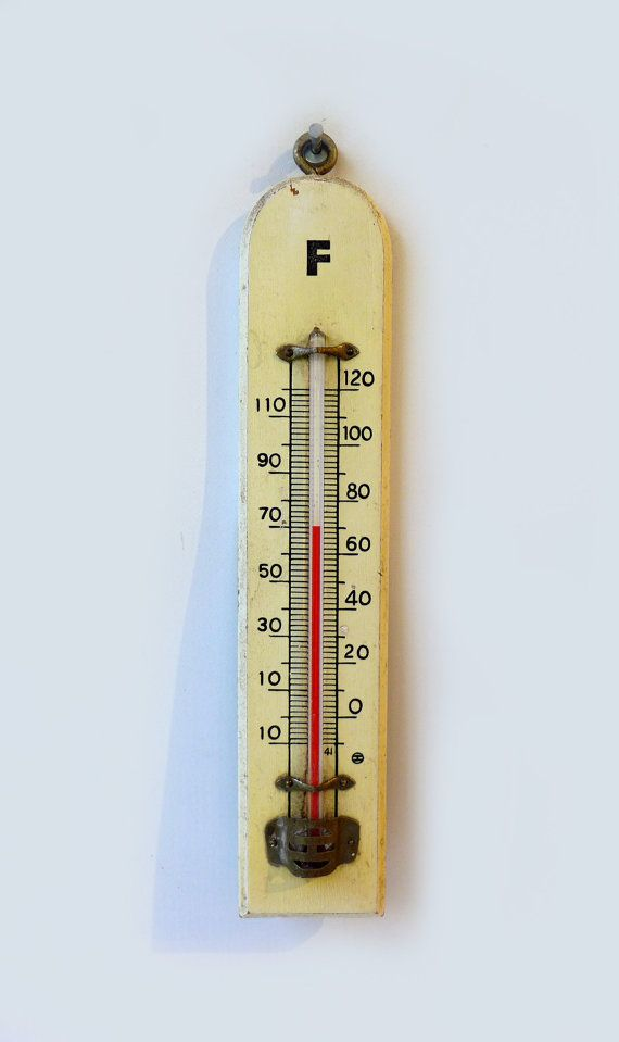 Vintage industrial wood wall thermometer Fahrenheit by evaelena