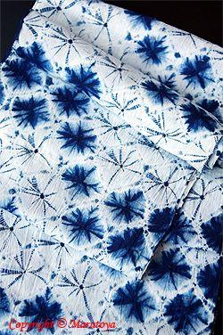有松正藍絞り染め 変わり手蜘蛛絞り