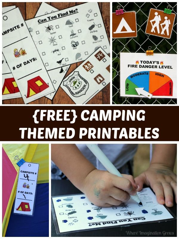 Dramatic play printables for camping themed learning!