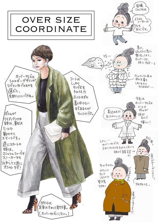 oookickooo きくちあつこ イラスト ファッション アウター コート オーバーサイズ ビッグシルエット 2015年  スタイリング 組み合わせ コーディネートスタイルハウス STYLE HAUS ほぼ日手帳 通販