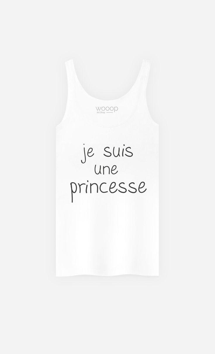 Débardeur Blanc Femme Je Suis Une Princesse de la Collection Alfred le Français - Wooop.fr