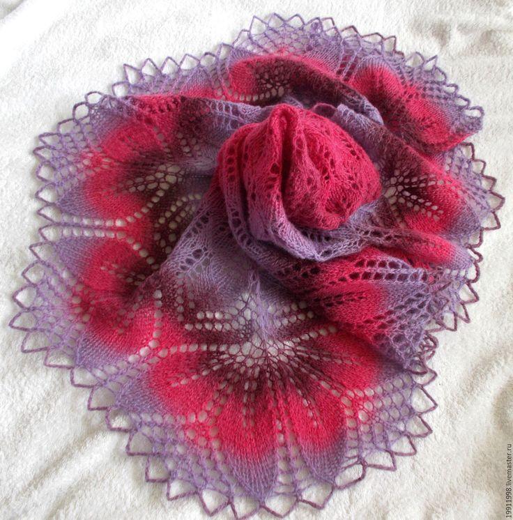 Купить шаль Нежность фуксии - фуксия, кауни, подарок девушке, подарок женщине, шаль вязаная